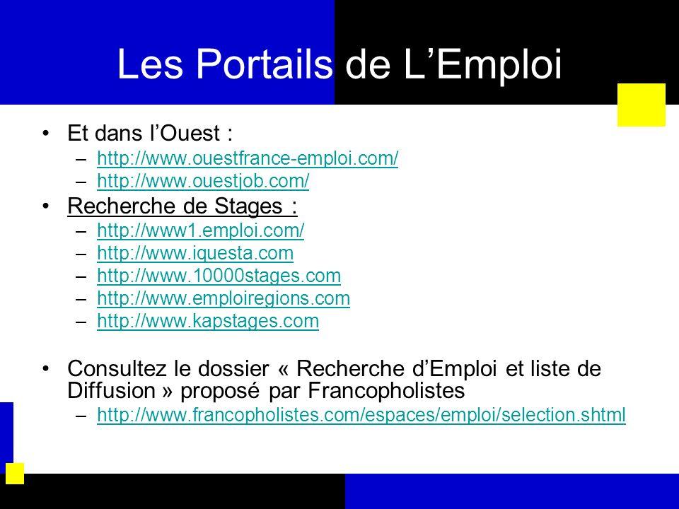 Les Portails de LEmploi Et dans lOuest : –http://www.ouestfrance-emploi.com/http://www.ouestfrance-emploi.com/ –http://www.ouestjob.com/http://www.oue