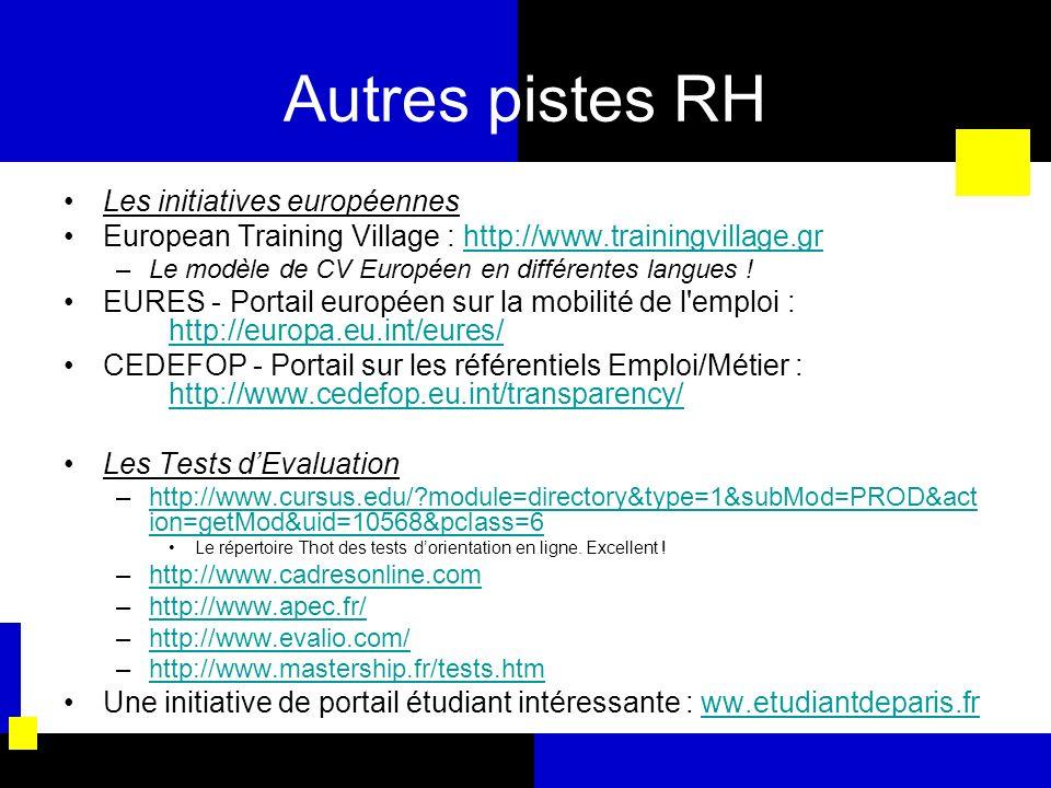 Autres pistes RH Les initiatives européennes European Training Village : http://www.trainingvillage.grhttp://www.trainingvillage.gr –Le modèle de CV E