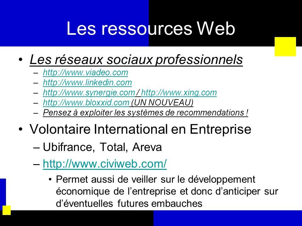 Les ressources Web Les réseaux sociaux professionnels –http://www.viadeo.comhttp://www.viadeo.com –http://www.linkedin.comhttp://www.linkedin.com –htt