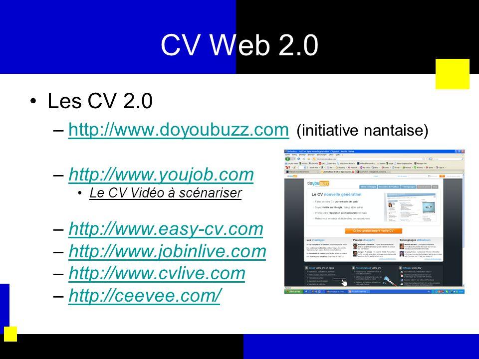 CV Web 2.0 Les CV 2.0 –http://www.doyoubuzz.com (initiative nantaise)http://www.doyoubuzz.com –http://www.youjob.comhttp://www.youjob.com Le CV Vidéo