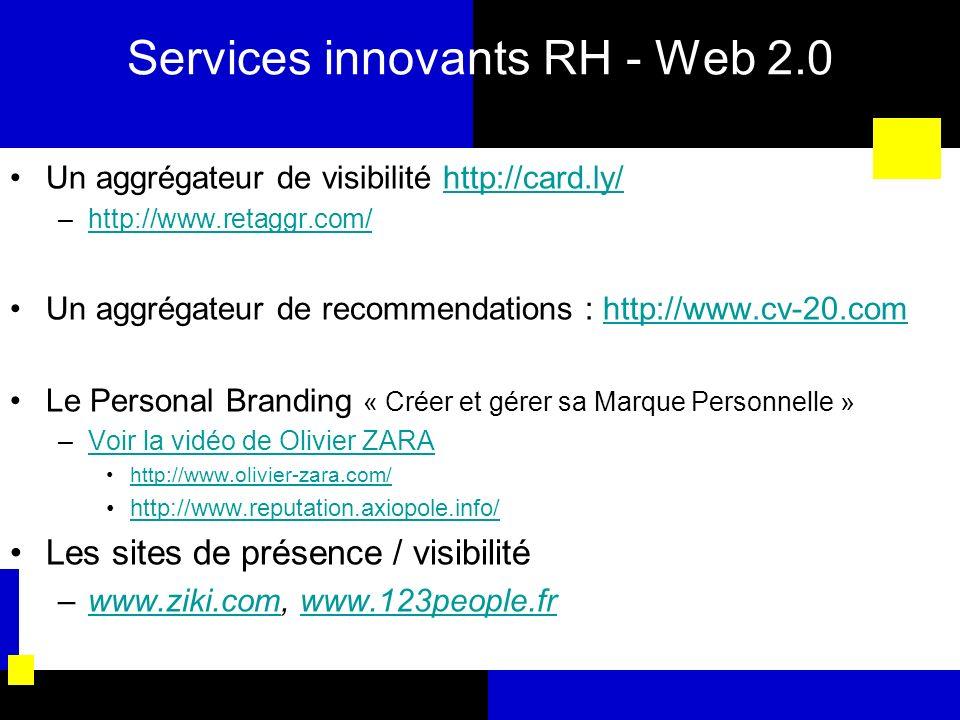 Services innovants RH - Web 2.0 Un aggrégateur de visibilité http://card.ly/http://card.ly/ –http://www.retaggr.com/http://www.retaggr.com/ Un aggréga