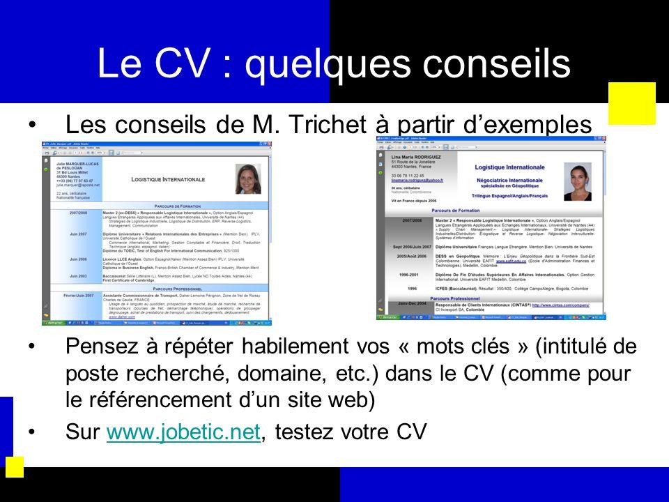 Le CV : quelques conseils Les conseils de M. Trichet à partir dexemples Pensez à répéter habilement vos « mots clés » (intitulé de poste recherché, do