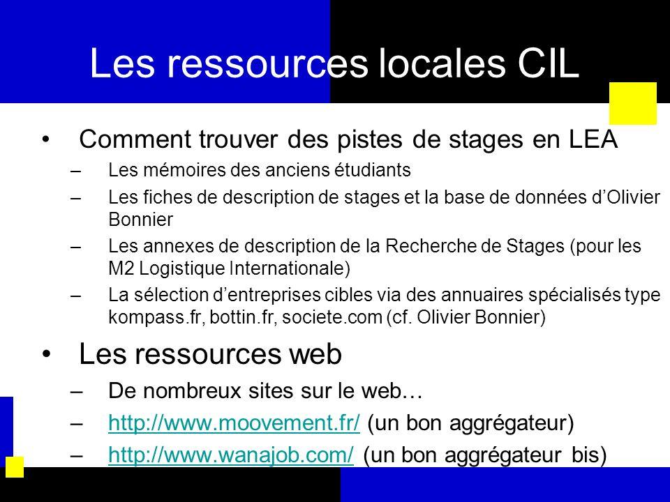 Les ressources locales CIL Comment trouver des pistes de stages en LEA –Les mémoires des anciens étudiants –Les fiches de description de stages et la