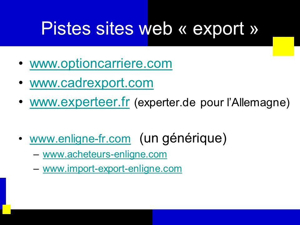 Pistes sites web « export » www.optioncarriere.com www.cadrexport.com www.experteer.fr (experter.de pour lAllemagne)www.experteer.fr www.enligne-fr.co
