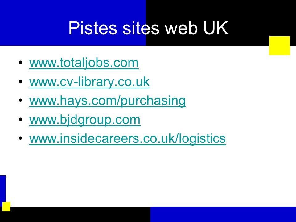 Pistes sites web UK www.totaljobs.com www.cv-library.co.uk www.hays.com/purchasing www.bjdgroup.com www.insidecareers.co.uk/logistics