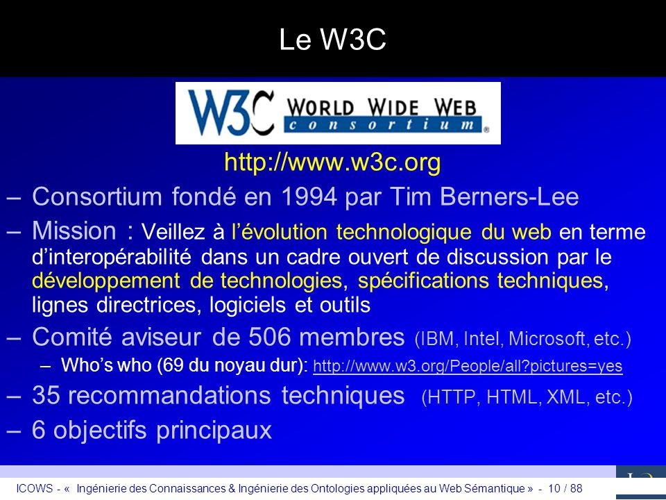 ICOWS - « Ingénierie des Connaissances & Ingénierie des Ontologies appliquées au Web Sémantique » - 10 / 88 Le W3C http://www.w3c.org –Consortium fond