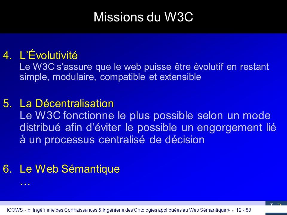 ICOWS - « Ingénierie des Connaissances & Ingénierie des Ontologies appliquées au Web Sémantique » - 12 / 88 Missions du W3C 4.LÉvolutivité Le W3C sass