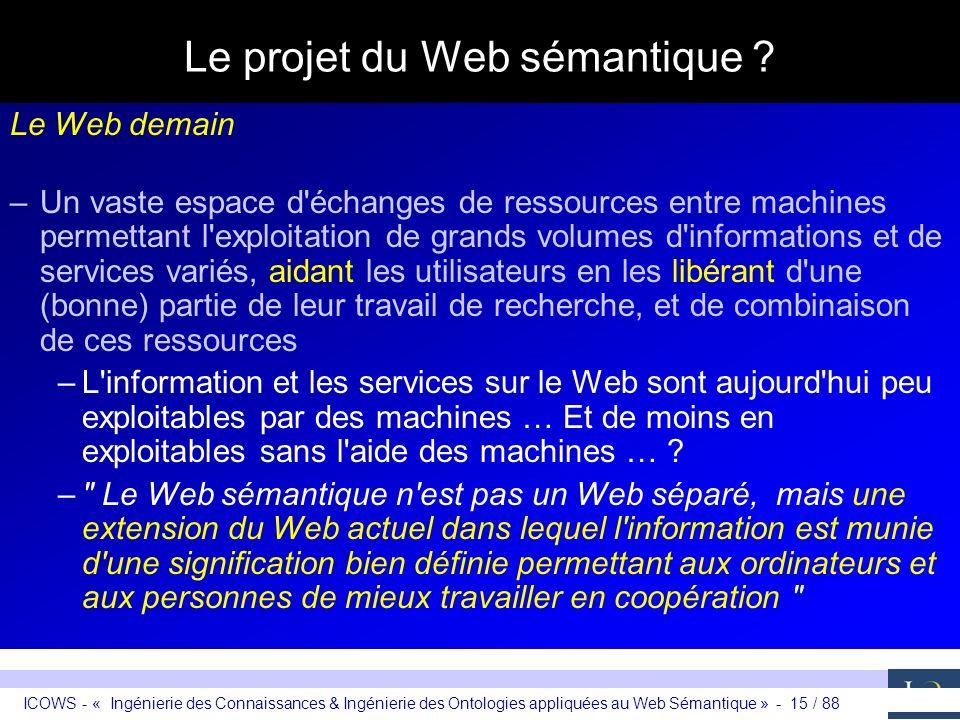 ICOWS - « Ingénierie des Connaissances & Ingénierie des Ontologies appliquées au Web Sémantique » - 15 / 88 Le projet du Web sémantique ? Le Web demai
