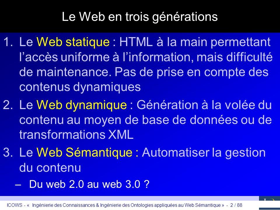 ICOWS - « Ingénierie des Connaissances & Ingénierie des Ontologies appliquées au Web Sémantique » - 2 / 88 Le Web en trois générations 1.Le Web statiq