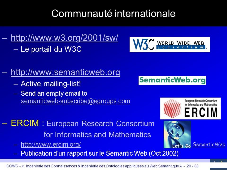 ICOWS - « Ingénierie des Connaissances & Ingénierie des Ontologies appliquées au Web Sémantique » - 20 / 88 Communauté internationale –http://www.w3.o