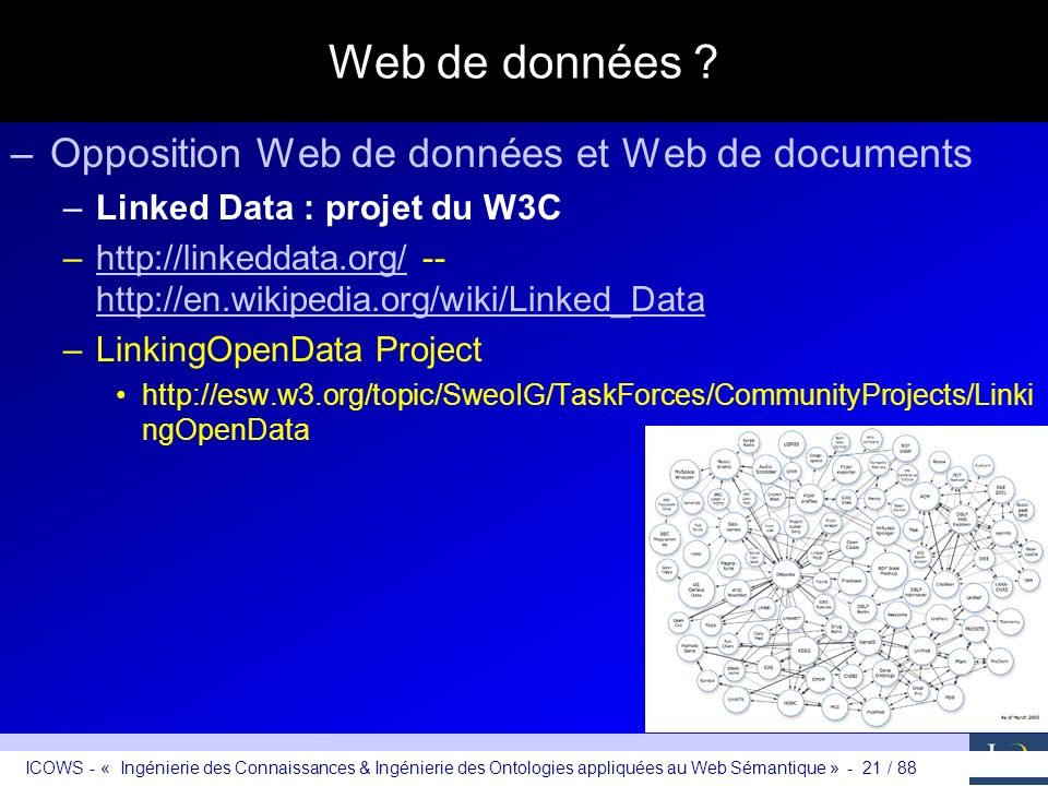 ICOWS - « Ingénierie des Connaissances & Ingénierie des Ontologies appliquées au Web Sémantique » - 21 / 88 Web de données ? –Opposition Web de donnée