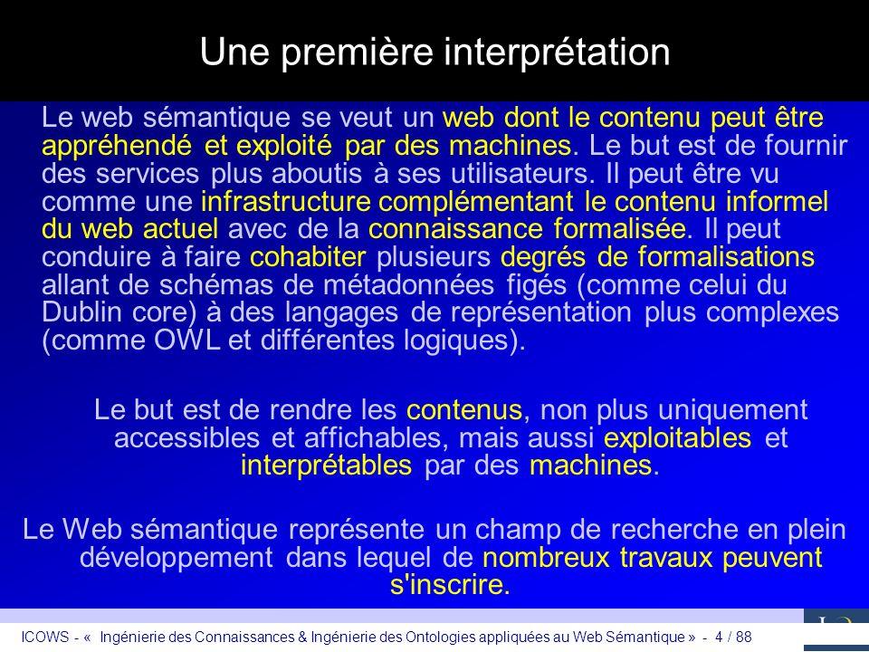 ICOWS - « Ingénierie des Connaissances & Ingénierie des Ontologies appliquées au Web Sémantique » - 4 / 88 Une première interprétation Le web sémantiq