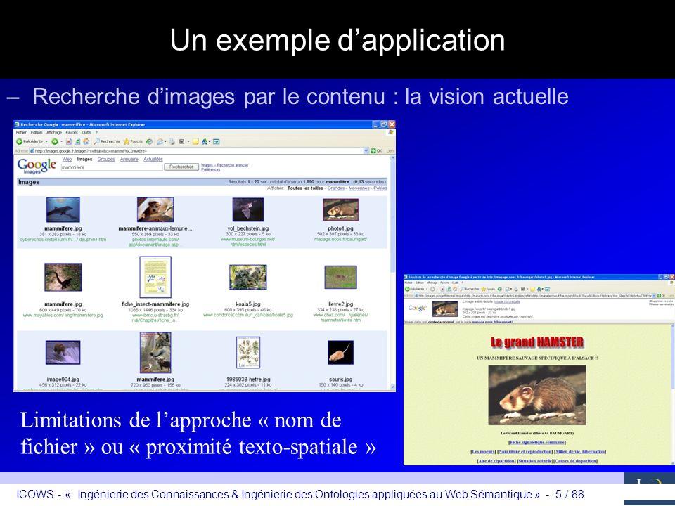 ICOWS - « Ingénierie des Connaissances & Ingénierie des Ontologies appliquées au Web Sémantique » - 5 / 88 Un exemple dapplication –Recherche dimages