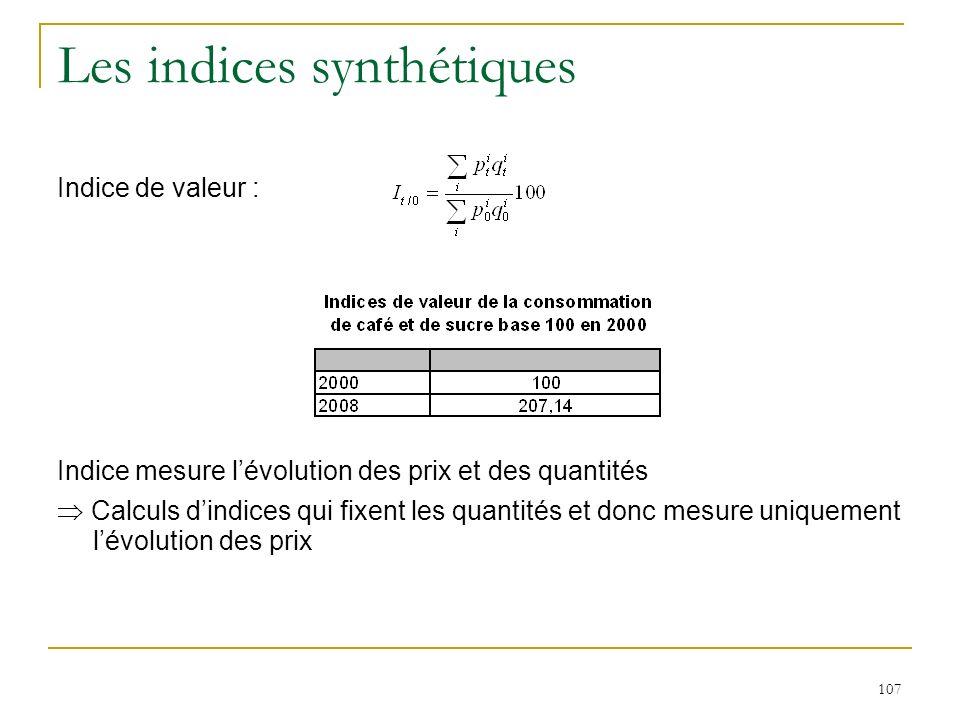 107 Les indices synthétiques Indice de valeur : Indice mesure lévolution des prix et des quantités Calculs dindices qui fixent les quantités et donc m