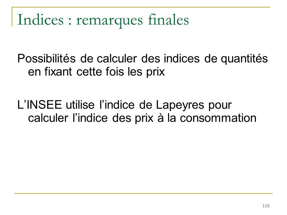 110 Indices : remarques finales Possibilités de calculer des indices de quantités en fixant cette fois les prix LINSEE utilise lindice de Lapeyres pou