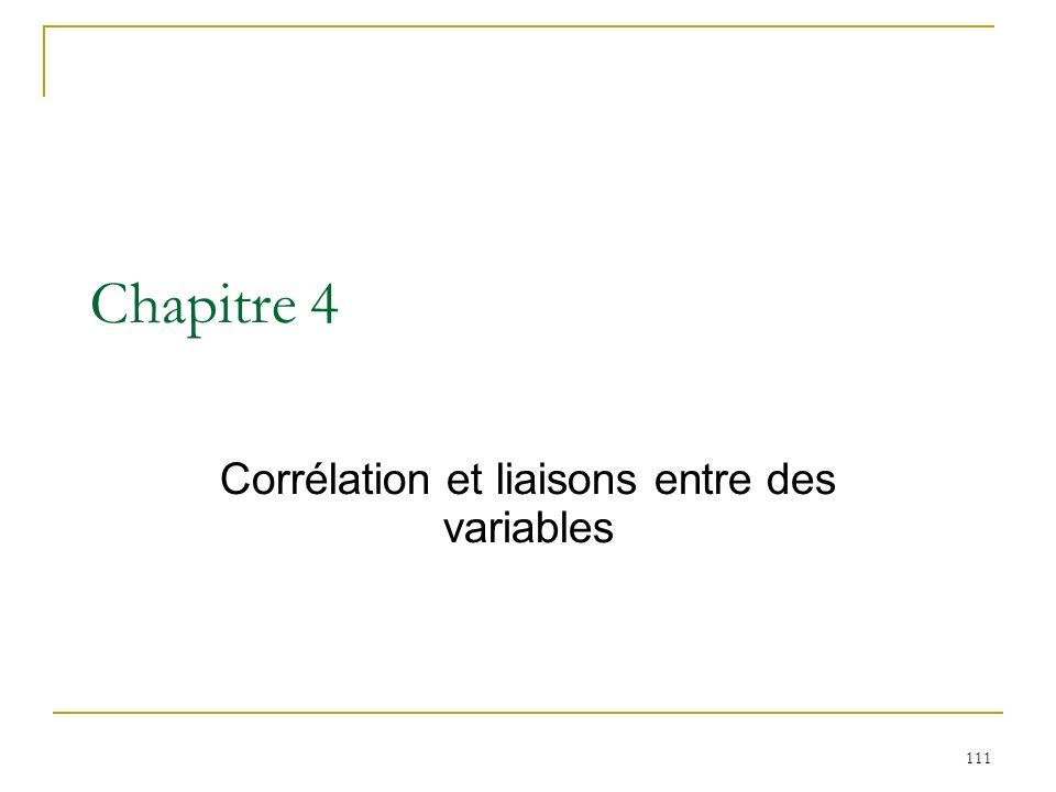 111 Chapitre 4 Corrélation et liaisons entre des variables