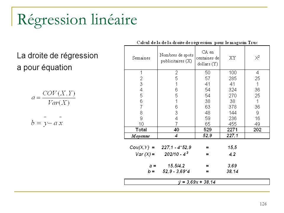 126 Régression linéaire La droite de régression a pour équation