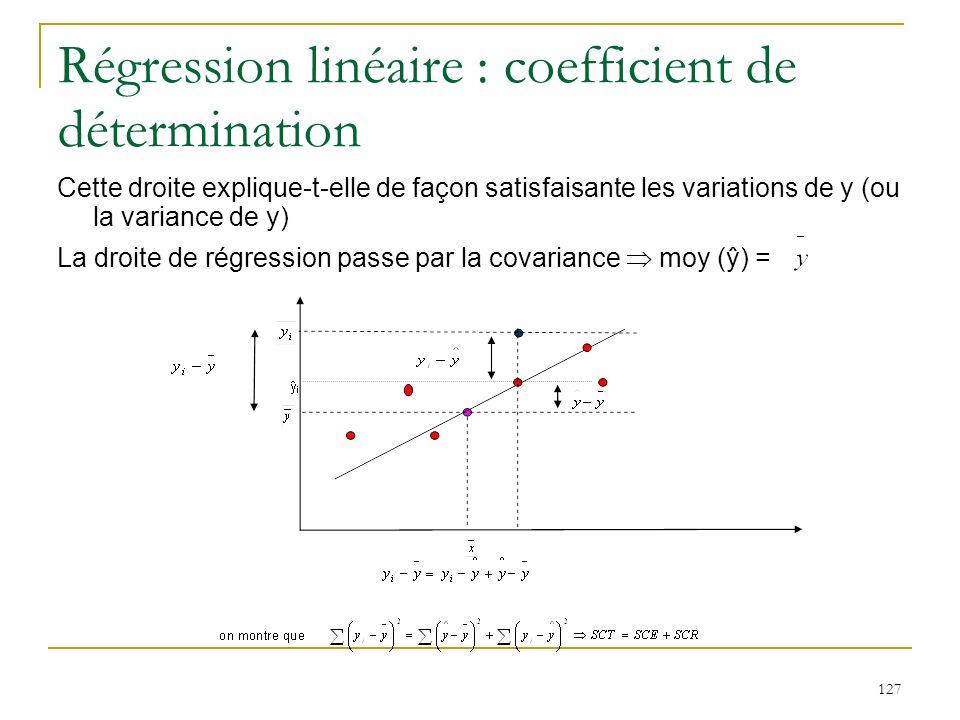 127 Régression linéaire : coefficient de détermination Cette droite explique-t-elle de façon satisfaisante les variations de y (ou la variance de y) L