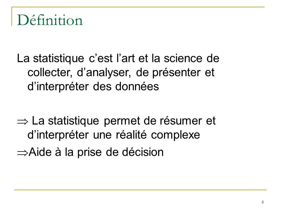 6 Définition La statistique cest lart et la science de collecter, danalyser, de présenter et dinterpréter des données La statistique permet de résumer