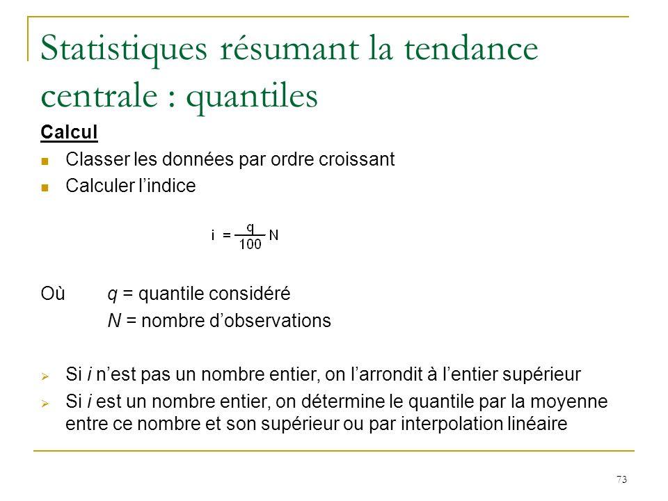 73 Statistiques résumant la tendance centrale : quantiles Calcul Classer les données par ordre croissant Calculer lindice Où q = quantile considéré N