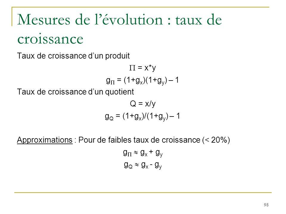 98 Mesures de lévolution : taux de croissance Taux de croissance dun produit = x*y g = (1+g x )(1+g y ) – 1 Taux de croissance dun quotient Q = x/y g