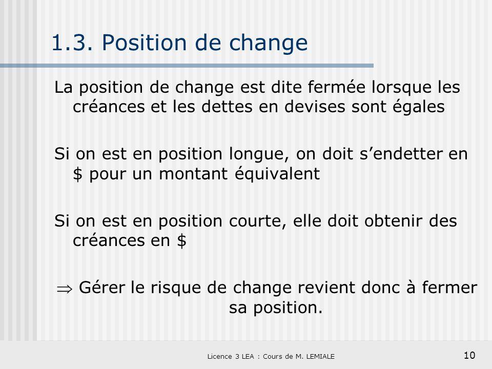 10 Licence 3 LEA : Cours de M. LEMIALE 1.3. Position de change La position de change est dite fermée lorsque les créances et les dettes en devises son