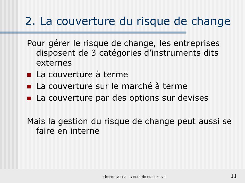 11 Licence 3 LEA : Cours de M. LEMIALE 2. La couverture du risque de change Pour gérer le risque de change, les entreprises disposent de 3 catégories