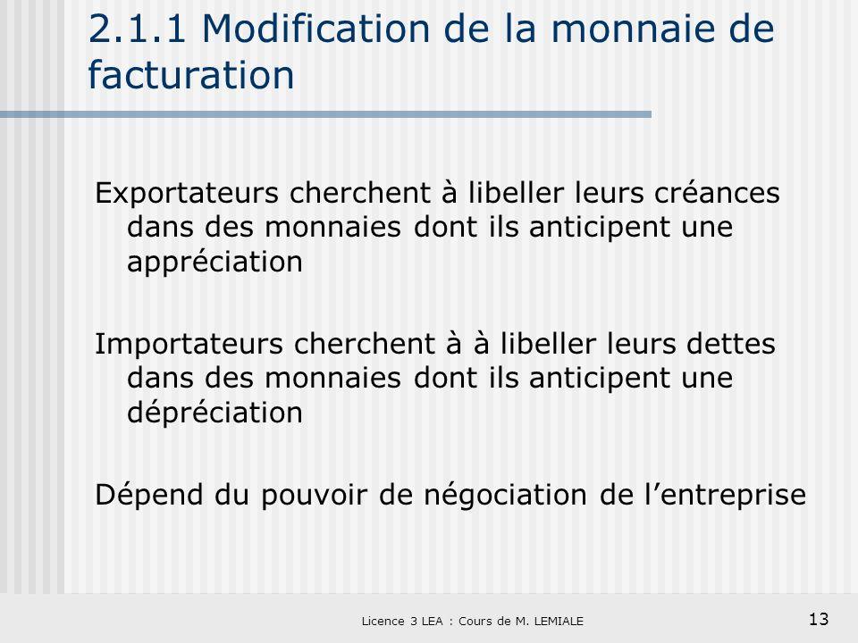 13 Licence 3 LEA : Cours de M. LEMIALE 2.1.1 Modification de la monnaie de facturation Exportateurs cherchent à libeller leurs créances dans des monna