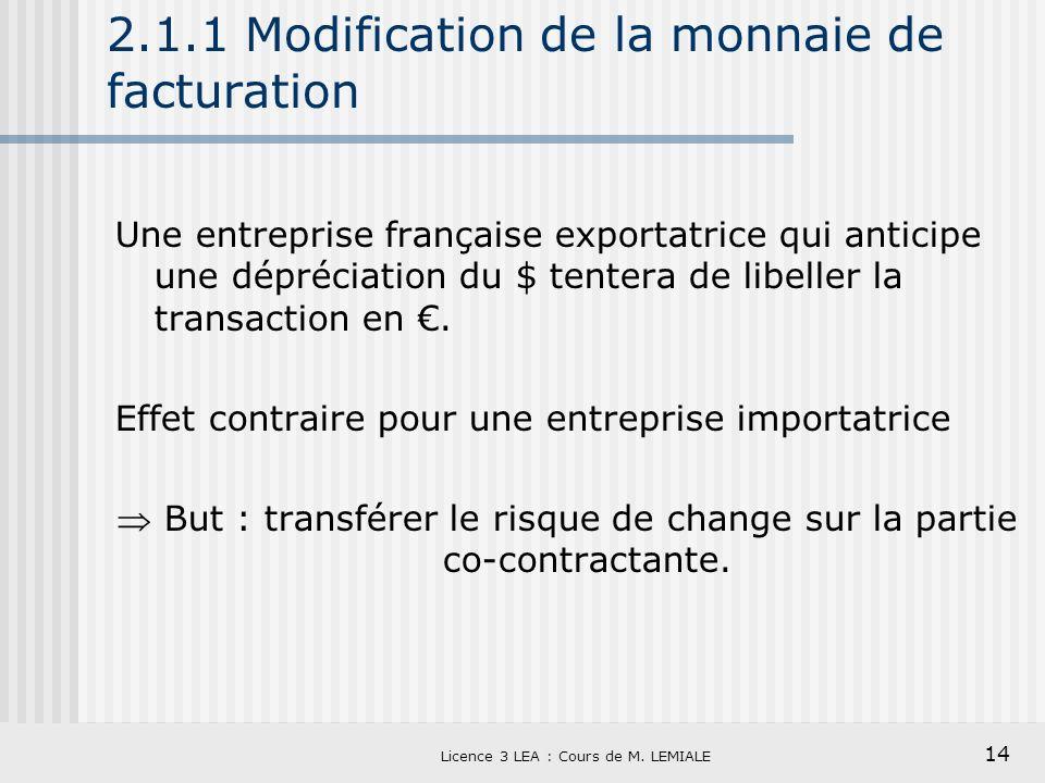 14 Licence 3 LEA : Cours de M. LEMIALE 2.1.1 Modification de la monnaie de facturation Une entreprise française exportatrice qui anticipe une déprécia