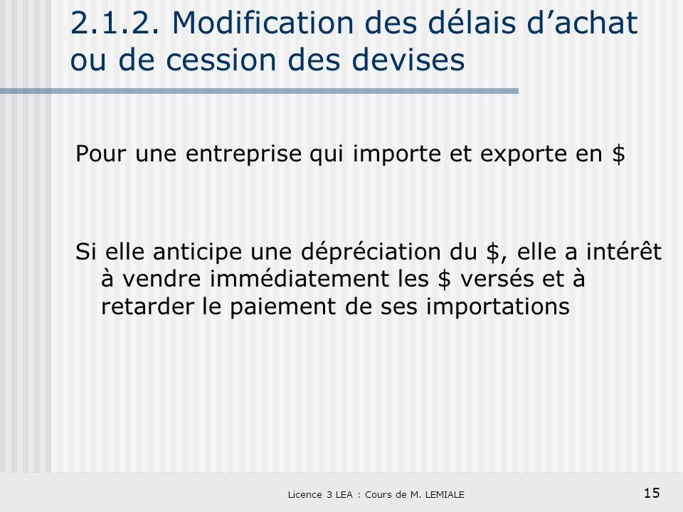 15 Licence 3 LEA : Cours de M. LEMIALE 2.1.2. Modification des délais dachat ou de cession des devises Pour une entreprise qui importe et exporte en $