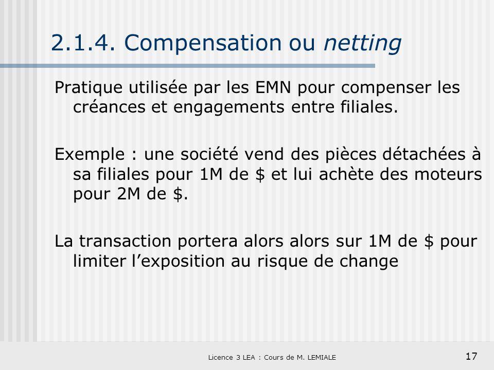 17 Licence 3 LEA : Cours de M. LEMIALE 2.1.4. Compensation ou netting Pratique utilisée par les EMN pour compenser les créances et engagements entre f