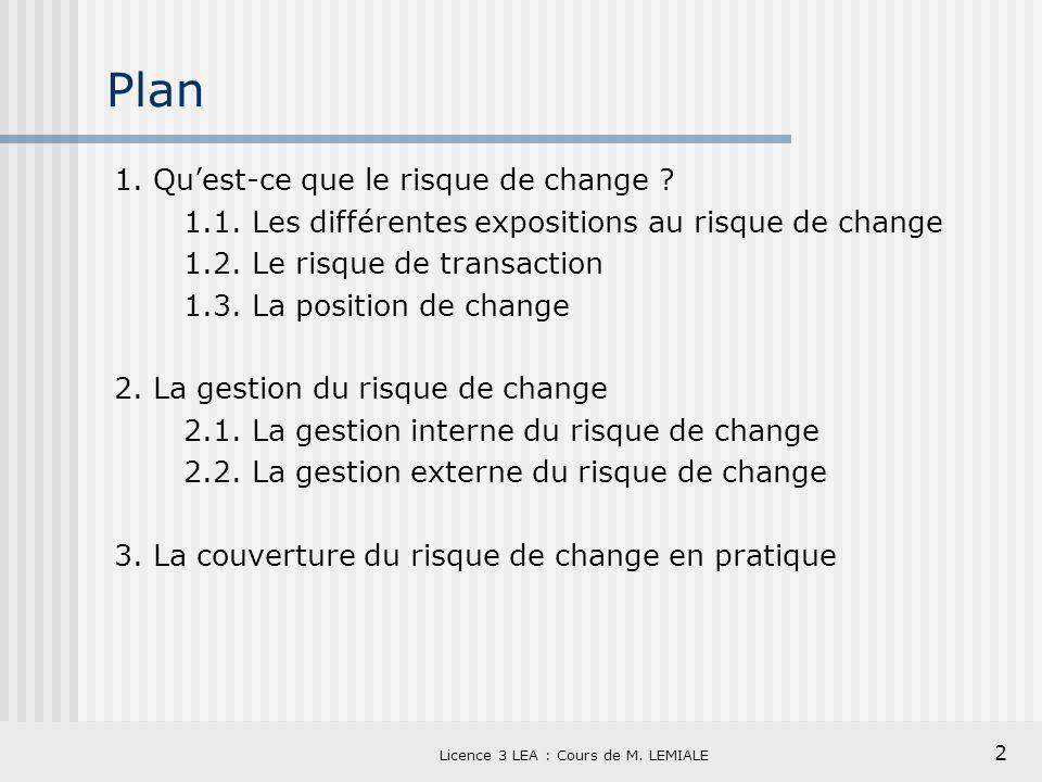 2 Licence 3 LEA : Cours de M. LEMIALE Plan 1. Quest-ce que le risque de change ? 1.1. Les différentes expositions au risque de change 1.2. Le risque d