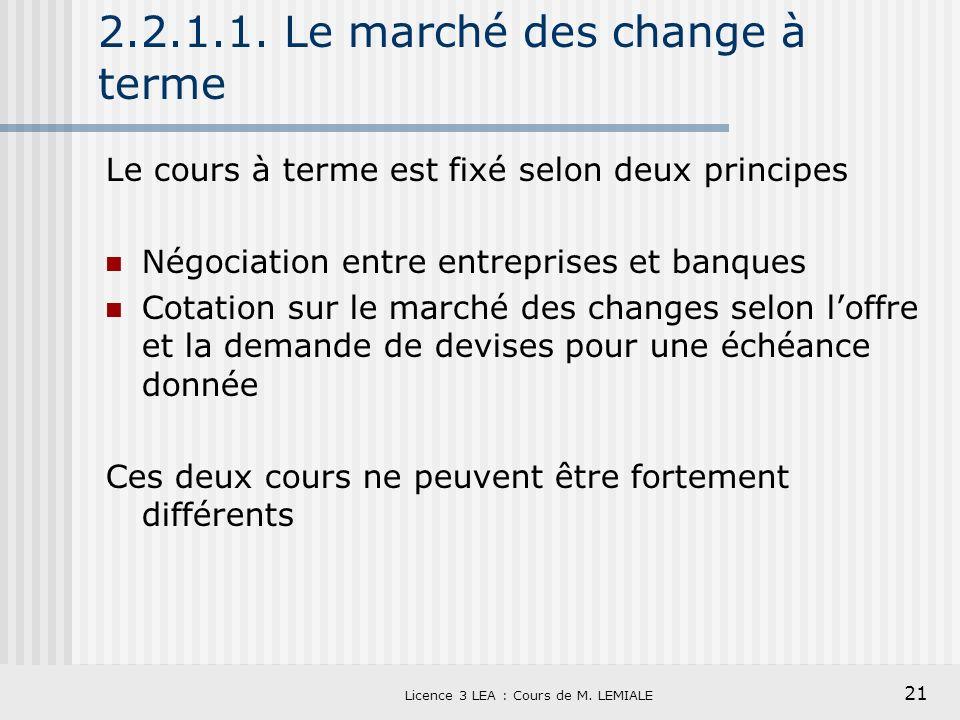 21 Licence 3 LEA : Cours de M. LEMIALE 2.2.1.1. Le marché des change à terme Le cours à terme est fixé selon deux principes Négociation entre entrepri