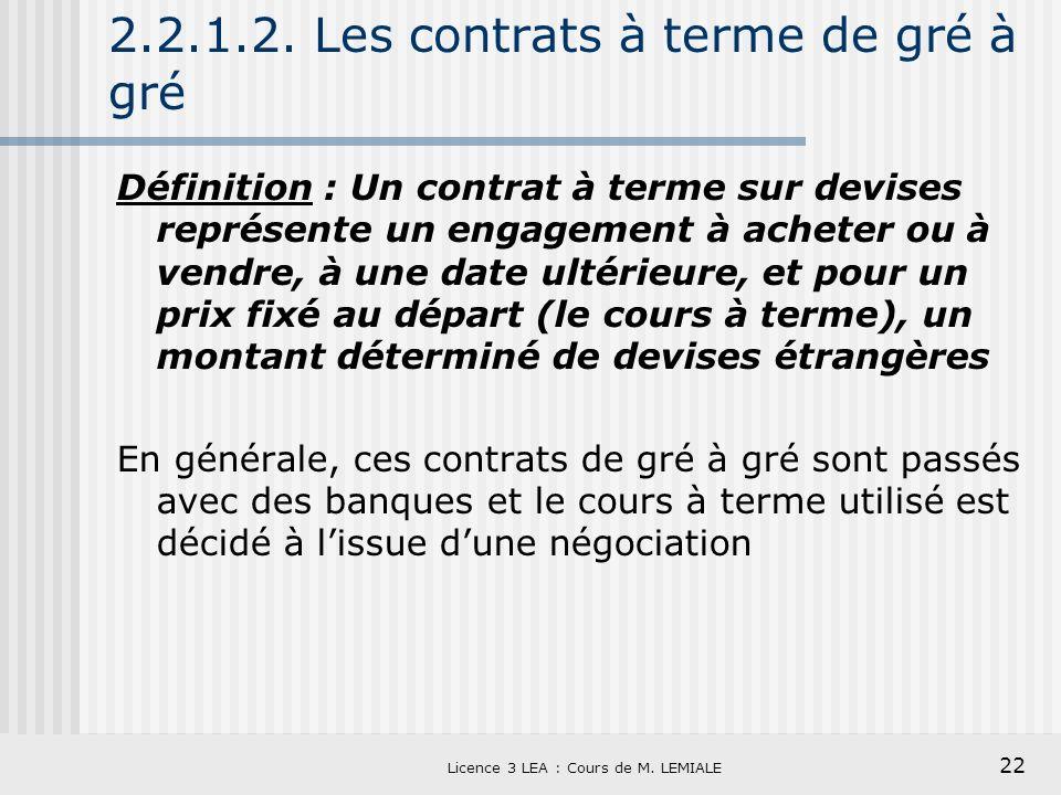 22 Licence 3 LEA : Cours de M. LEMIALE 2.2.1.2. Les contrats à terme de gré à gré Définition : Un contrat à terme sur devises représente un engagement