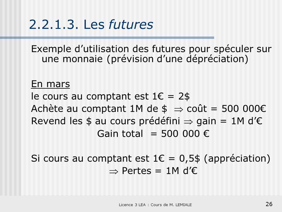 26 Licence 3 LEA : Cours de M. LEMIALE 2.2.1.3. Les futures Exemple dutilisation des futures pour spéculer sur une monnaie (prévision dune dépréciatio
