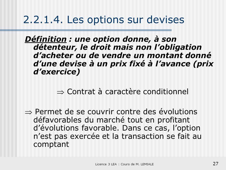 27 Licence 3 LEA : Cours de M. LEMIALE 2.2.1.4. Les options sur devises Définition : une option donne, à son détenteur, le droit mais non lobligation