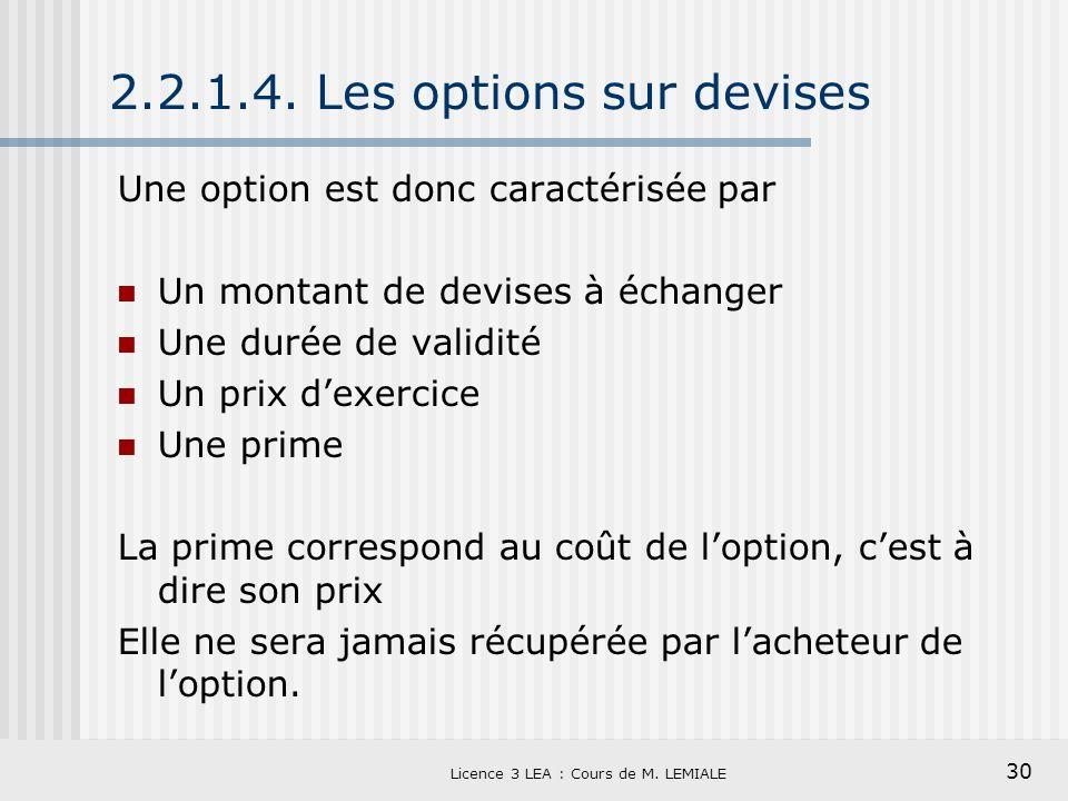 30 Licence 3 LEA : Cours de M. LEMIALE 2.2.1.4. Les options sur devises Une option est donc caractérisée par Un montant de devises à échanger Une duré