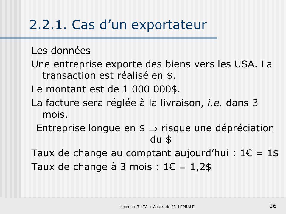 36 Licence 3 LEA : Cours de M. LEMIALE 2.2.1. Cas dun exportateur Les données Une entreprise exporte des biens vers les USA. La transaction est réalis