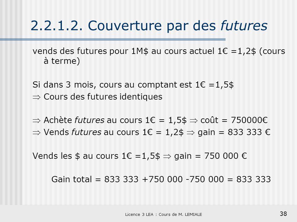 38 Licence 3 LEA : Cours de M. LEMIALE 2.2.1.2. Couverture par des futures vends des futures pour 1M$ au cours actuel 1 =1,2$ (cours à terme) Si dans