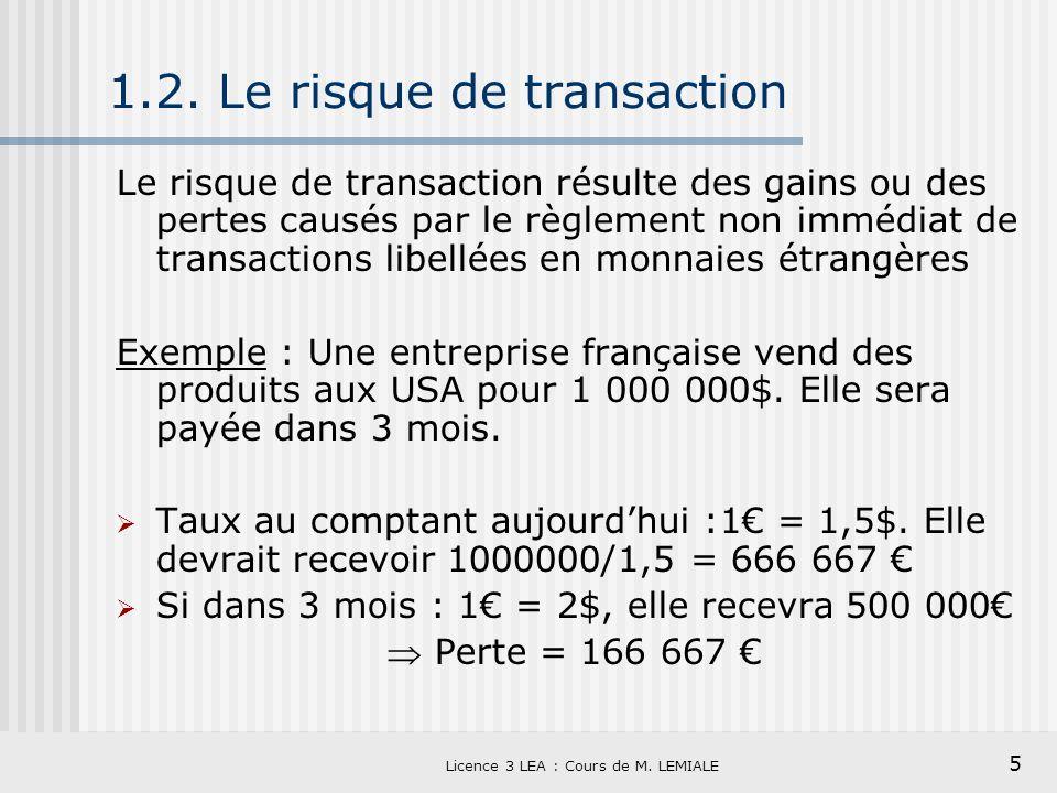 5 Licence 3 LEA : Cours de M. LEMIALE 1.2. Le risque de transaction Le risque de transaction résulte des gains ou des pertes causés par le règlement n