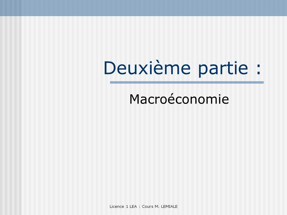 Licence 1 LEA : Cours M. LEMIALE Deuxième partie : Macroéconomie