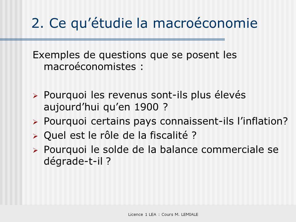 Licence 1 LEA : Cours M. LEMIALE 2. Ce quétudie la macroéconomie Exemples de questions que se posent les macroéconomistes : Pourquoi les revenus sont-