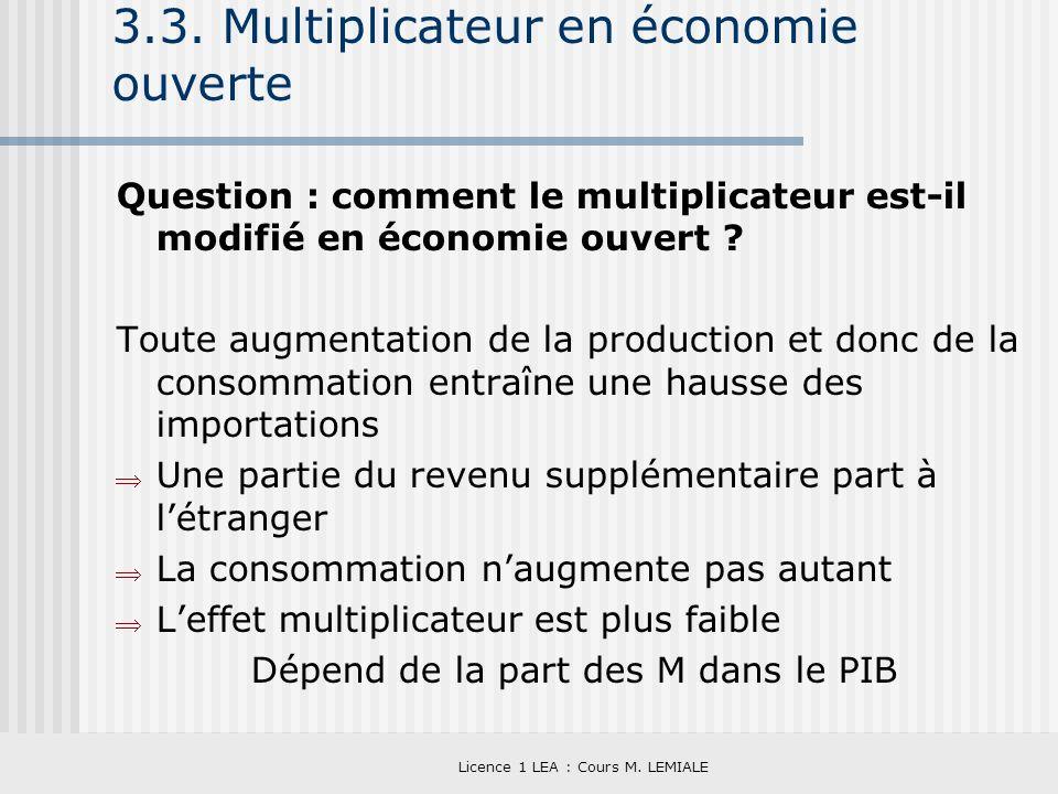 Licence 1 LEA : Cours M. LEMIALE 3.3. Multiplicateur en économie ouverte Question : comment le multiplicateur est-il modifié en économie ouvert ? Tout