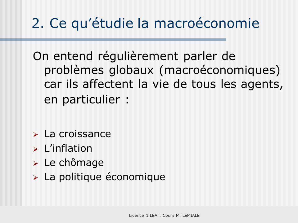 Licence 1 LEA : Cours M. LEMIALE 2. Ce quétudie la macroéconomie On entend régulièrement parler de problèmes globaux (macroéconomiques) car ils affect