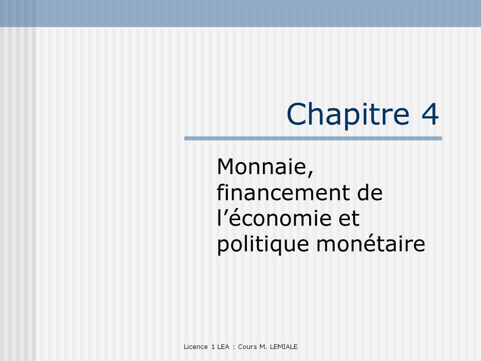 Licence 1 LEA : Cours M. LEMIALE Chapitre 4 Monnaie, financement de léconomie et politique monétaire