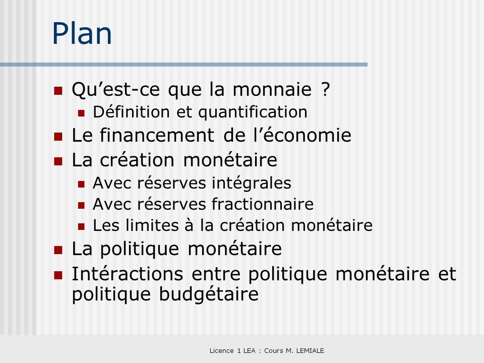Licence 1 LEA : Cours M. LEMIALE Plan Quest-ce que la monnaie ? Définition et quantification Le financement de léconomie La création monétaire Avec ré