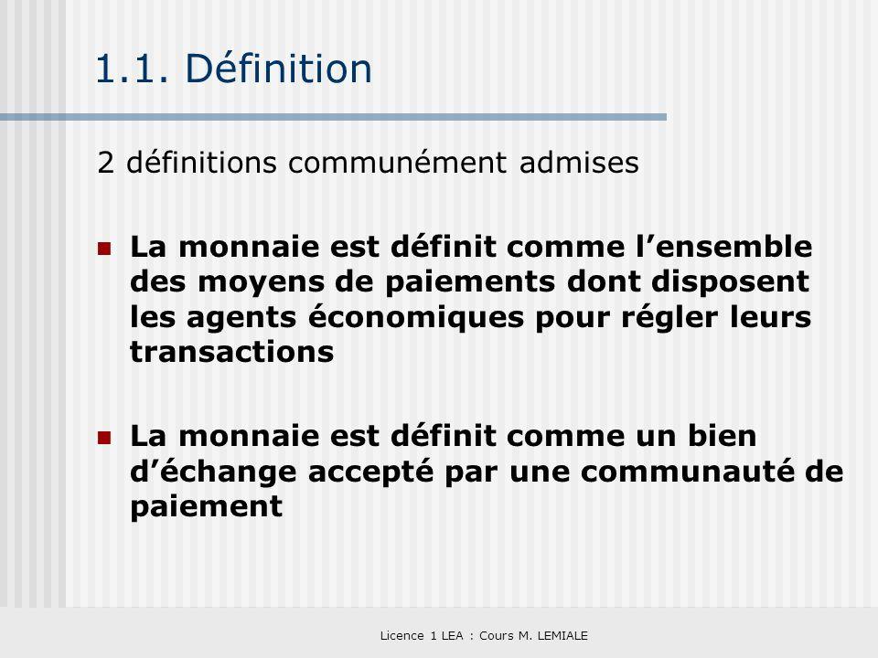 Licence 1 LEA : Cours M. LEMIALE 1.1. Définition 2 définitions communément admises La monnaie est définit comme lensemble des moyens de paiements dont
