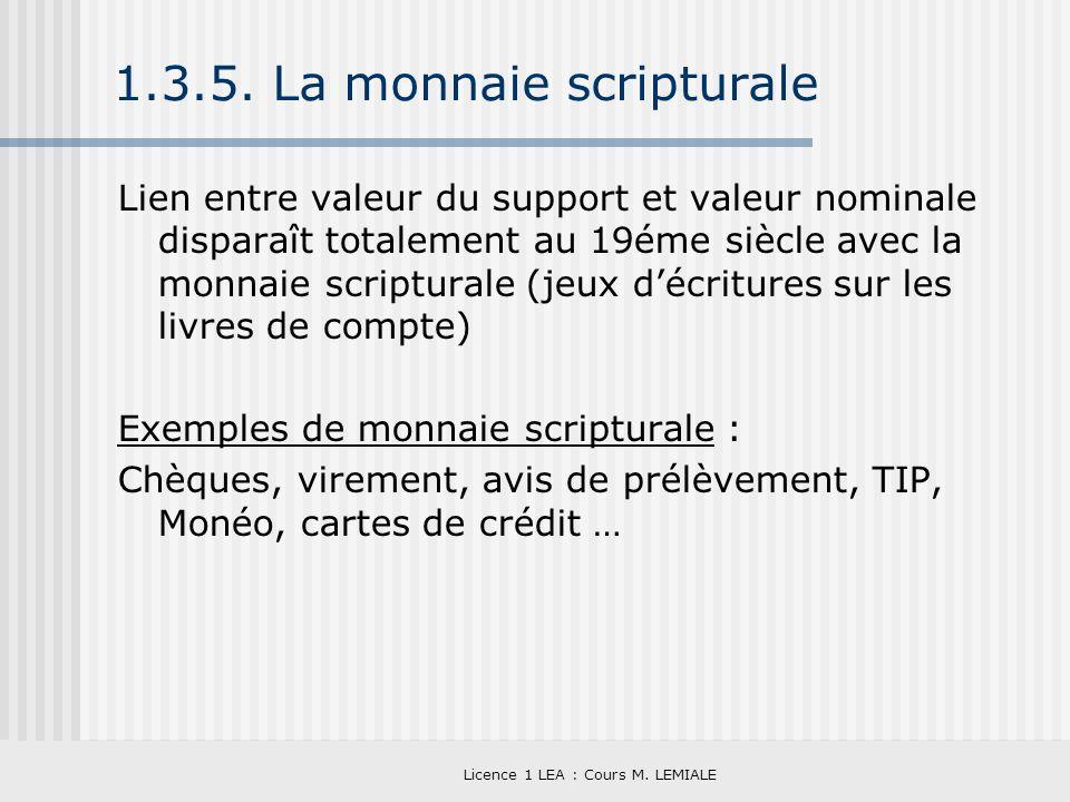 Licence 1 LEA : Cours M. LEMIALE 1.3.5. La monnaie scripturale Lien entre valeur du support et valeur nominale disparaît totalement au 19éme siècle av