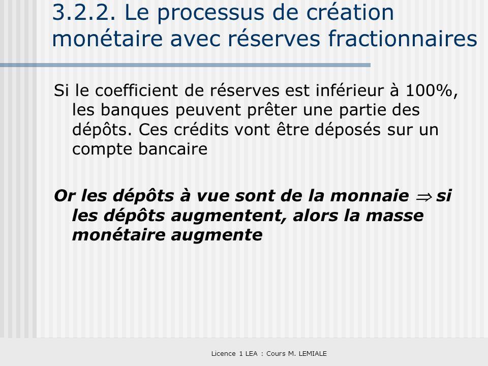 Licence 1 LEA : Cours M. LEMIALE 3.2.2. Le processus de création monétaire avec réserves fractionnaires Si le coefficient de réserves est inférieur à