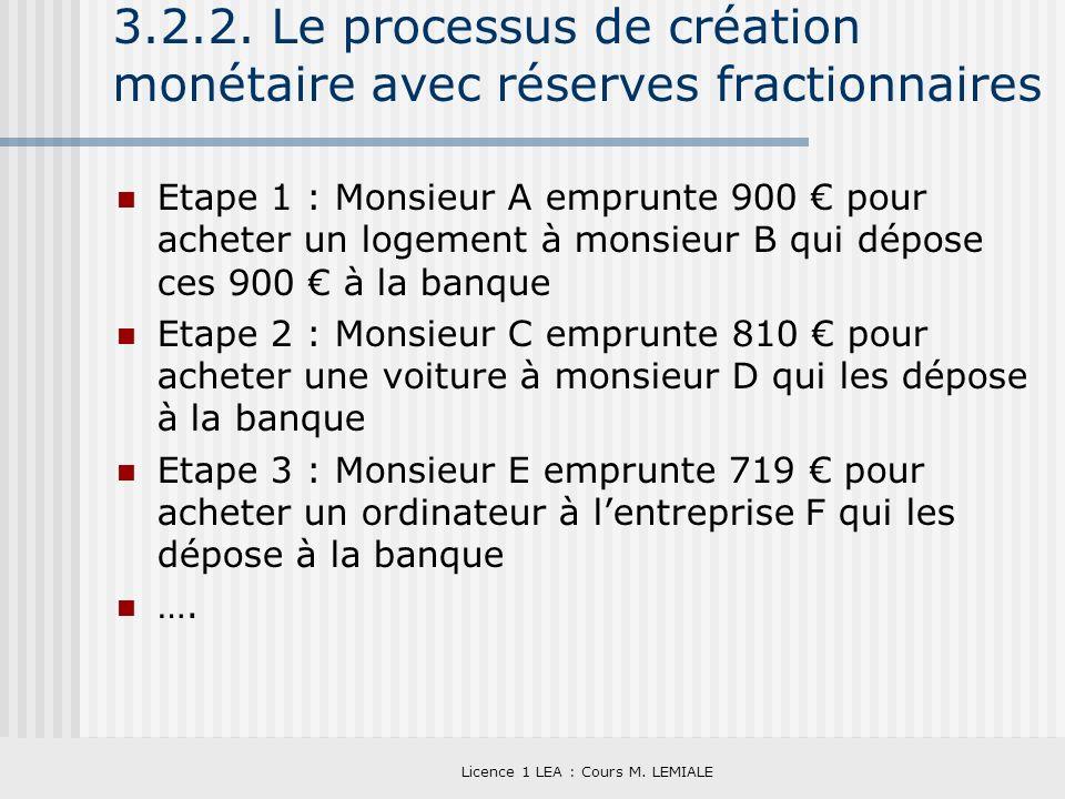 Licence 1 LEA : Cours M. LEMIALE 3.2.2. Le processus de création monétaire avec réserves fractionnaires Etape 1 : Monsieur A emprunte 900 pour acheter